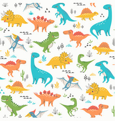 surface pattern cute dinosaurs vector image