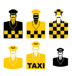 Taxi driver icon set cabbie sign cabdriver symbol vector