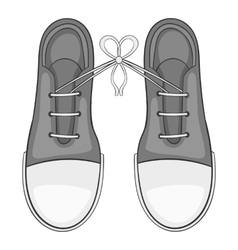 Tied laces on shoes icon gray monochrome style vector