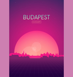 Travel poster futuristic retro skyline budapest vector