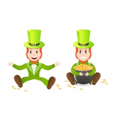 two leprechauns vector image