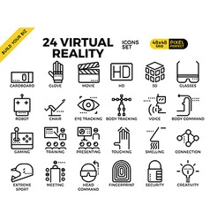 Virtual reality pixel perfect outline icons vector