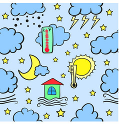 Weather theme doodles vector