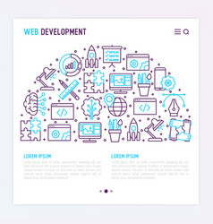 Web development concept in half circle vector