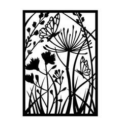 Wildflower template for cricut black flower vector