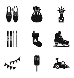 winter amusement icons set simple style vector image