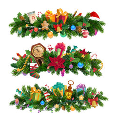 winter holiday christmas decorative compositions vector image