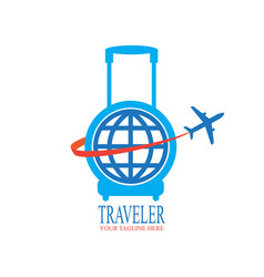 world travel logo design with travel bag and vector image