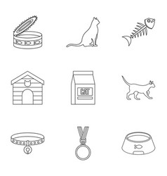 Cat things icons set outline style vector