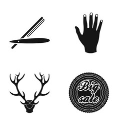 dangerous razor hand and other web icon in black vector image vector image
