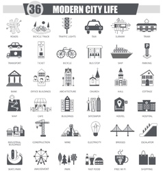 Modern city black icon set Dark grey vector image