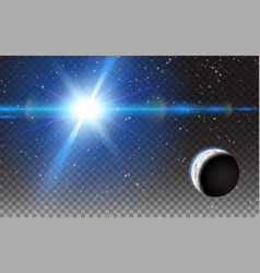 planet shining sun space stars moon background vector image vector image