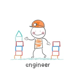 engineer builds a tower of blocks vector image vector image