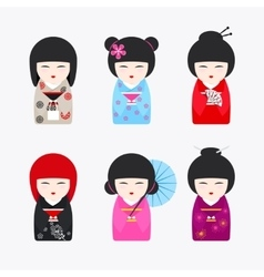 Japanese Kokeshi Dolls icons vector image