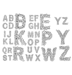 Outline capital letters with foliage ornament vector image