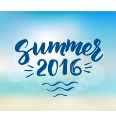 Summer 2016 card with hand drawn brush lettering vector image vector image