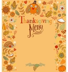 Thanksgiving menu card vector image vector image