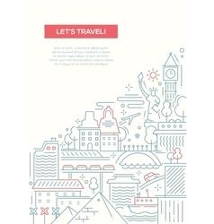 Travel composition - line flat design banner vector