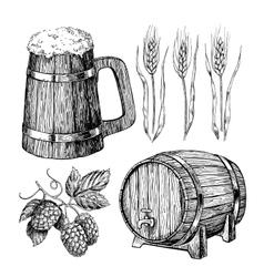Beer set Alcohol beverage hand drawn vector image vector image