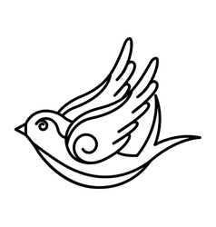 bird drawing tattoo style isolated icon vector image