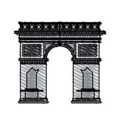 color crayon stripe cartoon monument arch antique vector image vector image