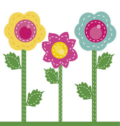 colored flowers sewn together vector image vector image