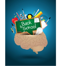 Creative brain mixed school supplies vector image vector image