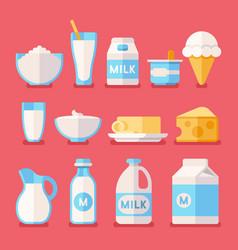 dairy milk yogurt cream cheese products flat vector image
