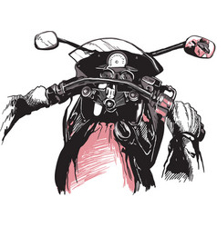 motorcycle handlebars an hand drawn freehand vector image