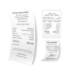 printed cash receipts set isolated on white vector image