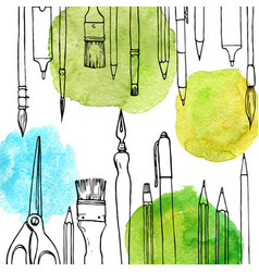 background with art materials vector image