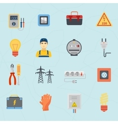 Electrician tools instruments flat icons set vector image
