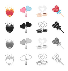 love gift cafe and other web icon in cartoon vector image
