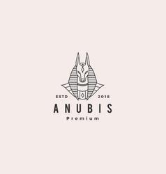 anubis logo hipster retro vintage label vector image