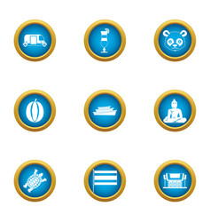 Asiatic icons set flat style vector