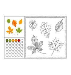 Autumn leaves coloring book page template vector