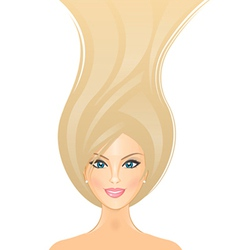 beautiful girl with long blond hair vector image