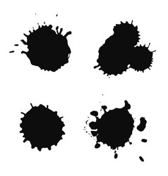 black paint blots on white background vector image