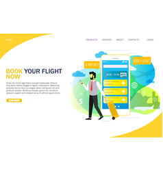 book flight online landing page website vector image