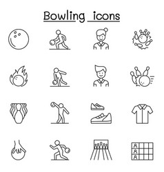 bowling icons set in thin line style vector image