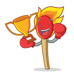 Boxing winner match stick mascot cartoon vector