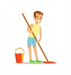 Boy Cleaning Floor With The Mop Smiling Cartoon vector
