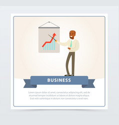 Businessman making presentation explaining growth vector