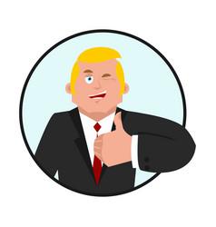 Businessman thumbs up boss winks emoji business vector
