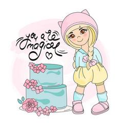Cake girl color set vector