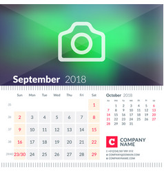 Calendar for september 2018 week starts on sunday vector