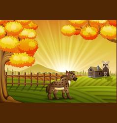 Cartoon hyena in the farm b vector