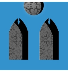 Church windows in simple cartoon drawing style vector