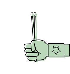 Color rocker hand with bracelet and drumsticks vector