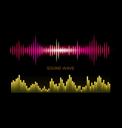 colorful sound waves on black background set vector image